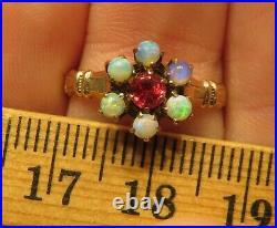 10k Antique Vintage Genuine Opal Art Deco Victorian Edwardian Halo Ring Rare Wow