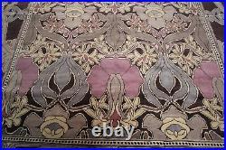 13x13 Rare Vintage Art Nouveau Rug Art Deco Area Rug Handmade Purple Abstract