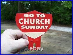 1950s Original Go Church Sunday License Plate Topper Vintage Chevy Ford Jalopy