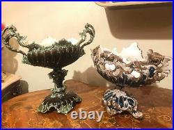 2 Art Nouveau Austrian Julius Dressler RARE Vintage Retro Majolica Vase