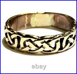 9k yellow gold celtic wecding band mens ring 3.7g estate vintage antique rare