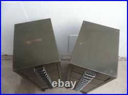 A Rare Pair of Vintage 1970s Green Metal 15 Drawer Filing Cabinets