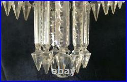 A Rare Victorian 2 Tier Vintage Brass & Glass Crystal Albert Spears Chandelier