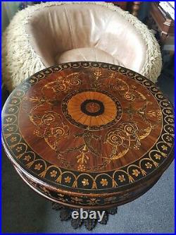 A Stunning Rare 20th Century Italian Painted Florentine Drum Side Table Vintage