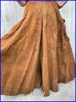 Antique 1930s Suede Leather Cowgirl Outfit Rodeo Pants Metal Studs Rare Vintage