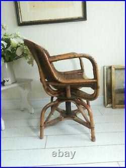 Antique Bamboo Armchair Swivel Rotates Vintage Retro Rare delivery available