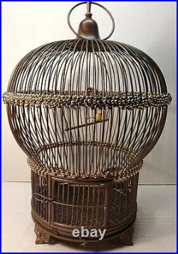 Antique Brass Cast Iron Bird Cage Vintage Round Beautiful Rare