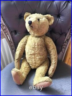 Antique Vintage 1940s STEIFF Silk Plush Rare Teddy Bear 17 Hump Back Jointed
