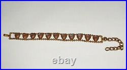 Antique Vintage Authentic Bohemia Saphiret Glass Bracelet 7 1/4 long RARE