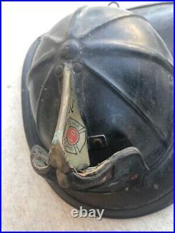 Antique Vintage Leather Fireman Firefighter Fire Helmet Pfd Squad 1 Rare