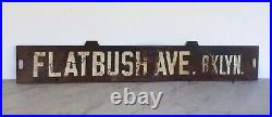 Antique Vintage New York Subway Train Sign Flatbush Ave Brooklyn Rare
