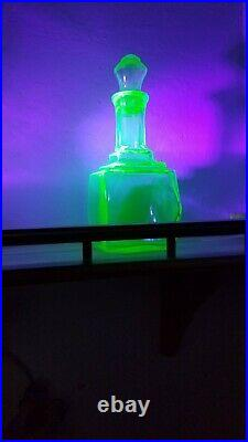 Antique Vintage Uranium Vaseline Glass Decanter Bottle Stopper RARE & Gorgeous