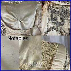 C1900-1910s Edwardian True Antique Wedding Gown Vintage Beaded Silk Dress RARE