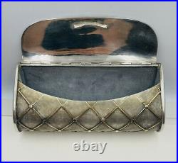 Cartier Rare Vintage Sterling Silver & 18k Gold Raised Quilted Clutch Purse