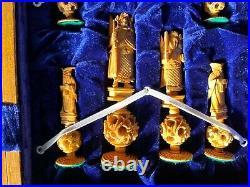 Chess Set Bovine Bone Oriental Hand Carved Antique Vintage King 6Collector Rare