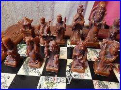 Chess Set Jade Genuine Hand Carved Antique Vintage Complete Collectors Rare