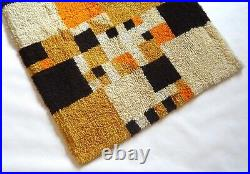 Colorful Very Rare Original MID Century Cubist Vintage Carpet Shag Rug 1970
