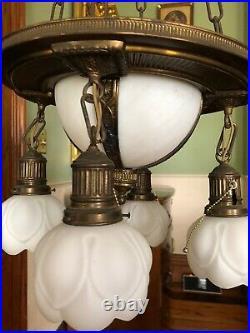 DYNAMIC & Rare1920's Antique VIntage Art Deco Ceiling Light Fixture CHANDELIER
