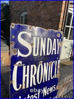 Enamel Sign Sunday Newspaper Original Old Rare Advertising Antique Vintage Big