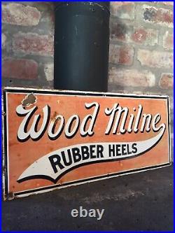 Enamel Sign Wood Milne Original Old Rare Advertising Antique Collectable Vintage