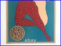 John Hitesman Rare Vtg 1960's MID Century Modern Lithograph Print Op Art Poster