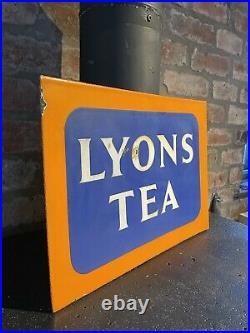 Lyons Tea Enamel Sign Original Old Rare Advertising Antique Collectable Vintage