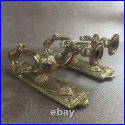 Matching Pair Rare Vintage/Antique Lancini Brass Cherub Wall Candle Holders WS
