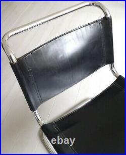 Mies Van Der Rohe Rare Vintage MR 30/5 LOUNGE CHAIR. Black Leather Bauhaus