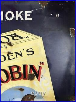 Ogdens Robin Cigarettes Vintage Enamel Sign -Antique Sign Enamel Sign Rare
