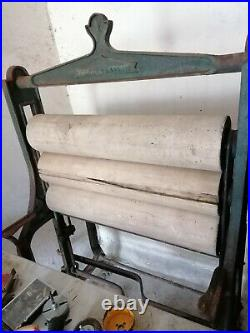 Old Vintage mangle, very rare triple roller, all original Inc weights