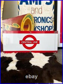 Original, vintage London Underground Central Line enamel sign. 1970's. RARE