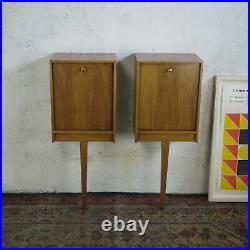 Pair Rare Vintage Mid Century Teak Walnut Bedside Cabinets Peter Hayward Uniflex