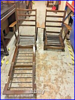 Pair of Rare Vintage Wooden Folding Steamer Chairs With Springs. Garden Patio