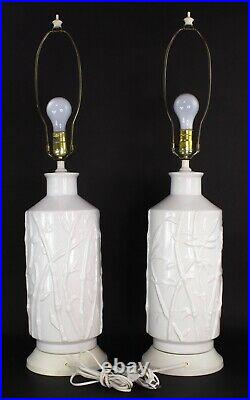 Pair of Vintage Faux Bamboo White Ceramic Table Lamps Hollywood Regency Rare