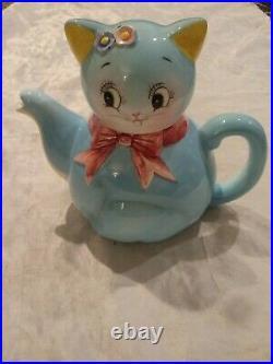 RARE ANTIQUE VINTAGE 1950s NORCREST BLUE CAT KITTEN TEAPOT #CT-1
