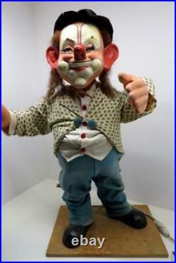 RARE! AUTOMATON Circus CLOWN Vintage / Antique German Papier Mache SHOP DISPLAY