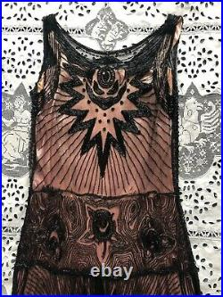 RARE Antique 1920s Devil Face Beaded Flapper Dress Tulle Net Demon Halloween VTG