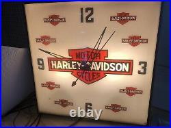 RARE Antique 1957 Vintage Harley Davidson Dealership Lighted Wall Clock Pam