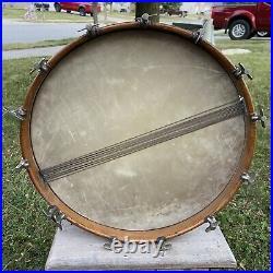 RARE Antique Leedy Snare Drum Vintage 1920s 14 Lug Original Calf Skin Heads LOOK