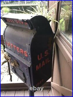 RARE, Antique Metal U. S. Post Office Public Mailbox, 1949 Vintage USPS