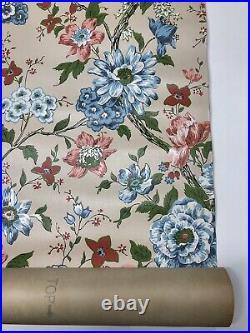 RARE Antique Vintage Thibaut Wallpaper Painted Bright Floral Double Rolls