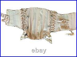 RARE Antique Vtg 1930s CAMP Fan Lace Boning Corset Pink British Girdle Garters