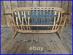 RARE Ercol cowhorn 2 seater sofa settee blue seating chair vintage gplanera