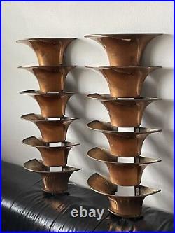 RARE KEM WEBER ART DECO MODERN METAL WALL SCONCES 1940s VINTAGE COPPER LAMPS