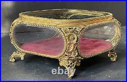 RARE MATSON Vintage Gold SUNFLOWERS Jewelry Box Casket Antique BEVELED Glass