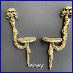 RARE! PAIR Vintage Gold CARVED Wall Sconces SHELVES Antique BOWS TASSELS HTF