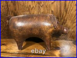 RARE VINTAGE DIMITRI OMERSA LEATHER PIG ABERCROMBIE & FITCH FOOTSTOOL 1950s HTF