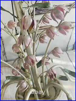 RARE VINTAGE ITALIAN METAL TOLE LILY Of The VALLEY FLOWERS CHANDELIER