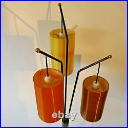 RARE Vintage 1950s Mid Century Tripod Floor Lamp with 3 Rotaflex Shades Pat Test