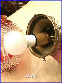 RARE Vintage Antique Multicolor Adjustable Hanging Lamp w. Crystal Pendant Glass